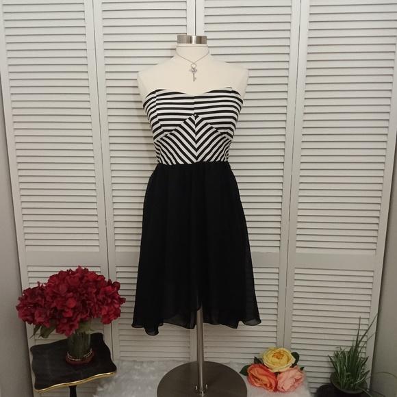 Deb Dresses & Skirts - Deb strapless black and white stripe chiffon dress